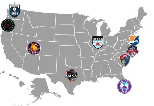 Map of NWSL teams across the United States