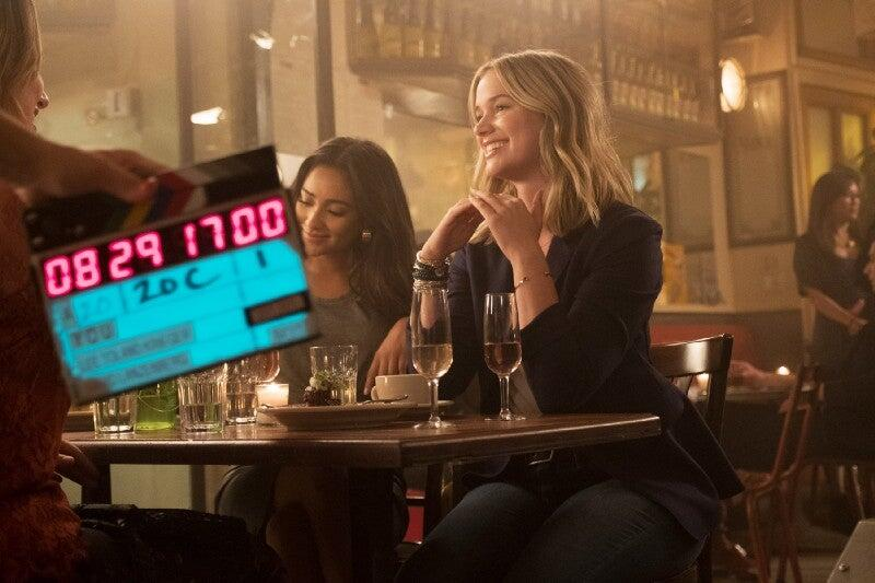 Shay Mitchell and Elizabeth Lail on set.