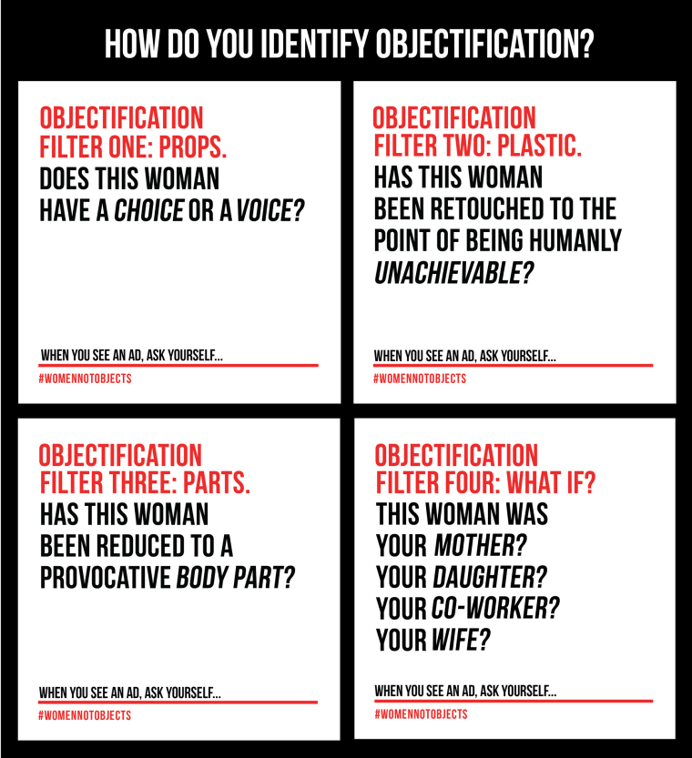 "A sign with the title ""How do you identify objectification?"""
