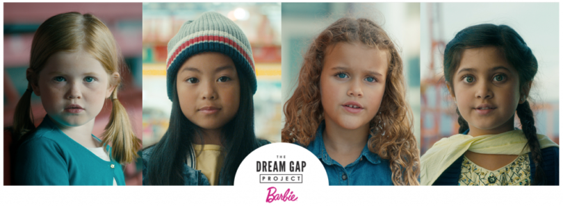 Picture showing 4 girls from the Dream Gap Project Ad
