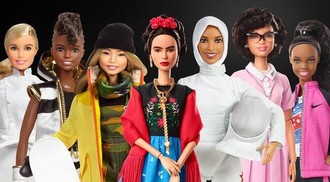 Picture of a diverse group of Barbie dolls
