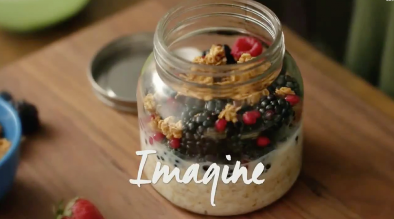 Picture of yogurt, granola and fruit in a jar
