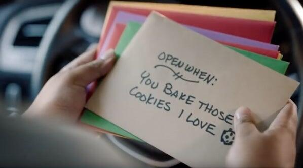Greeting Card Envelope with the words: Open When: You Bake Those Cookies I Love