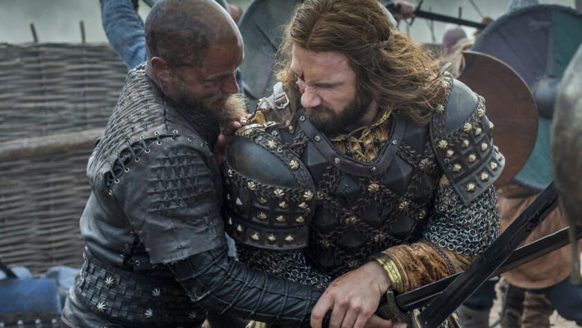 Travis Fimmel as Ragnar, Clive Standen as Rollo, Vikings
