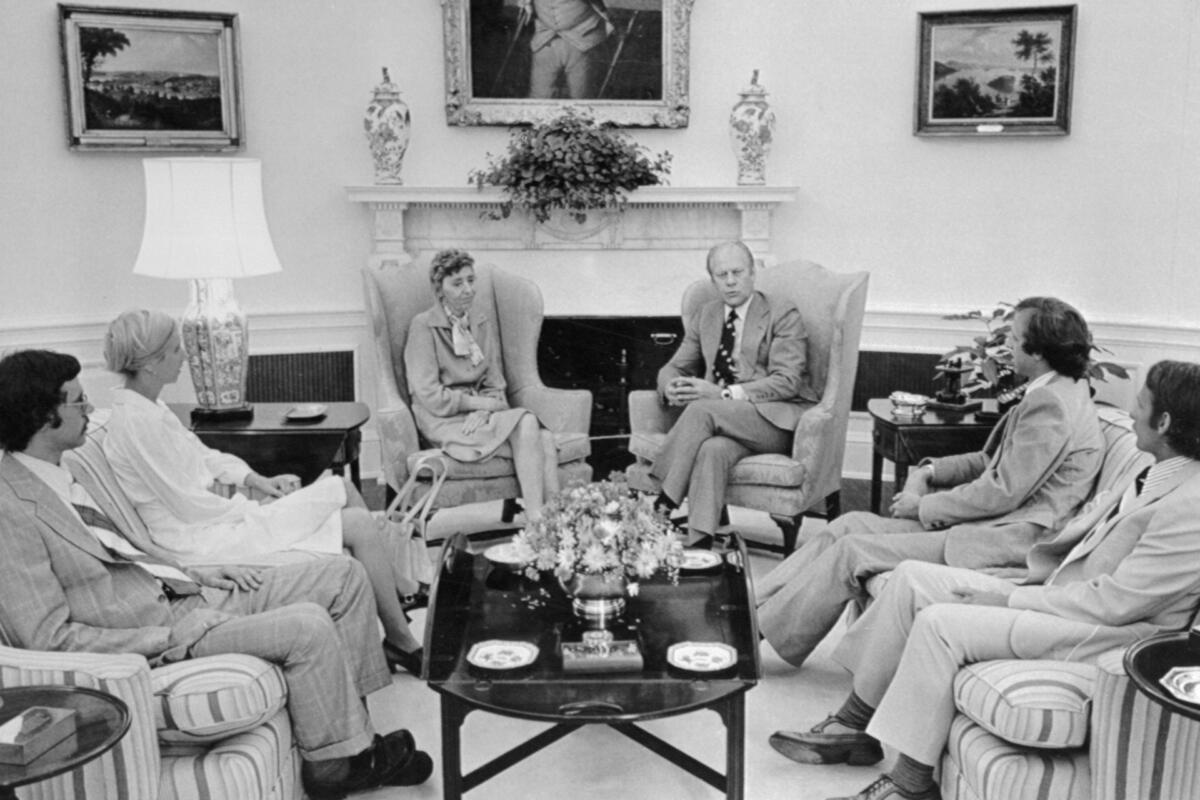 President Gerald Ford meeting with the family of Dr. Frank Olson in 1975.