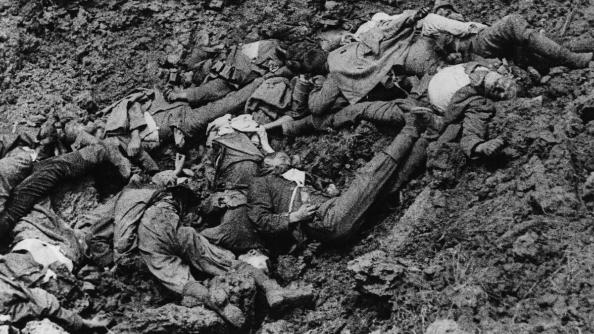 German soldiers dead in shell hole between Montauban and Carnoy