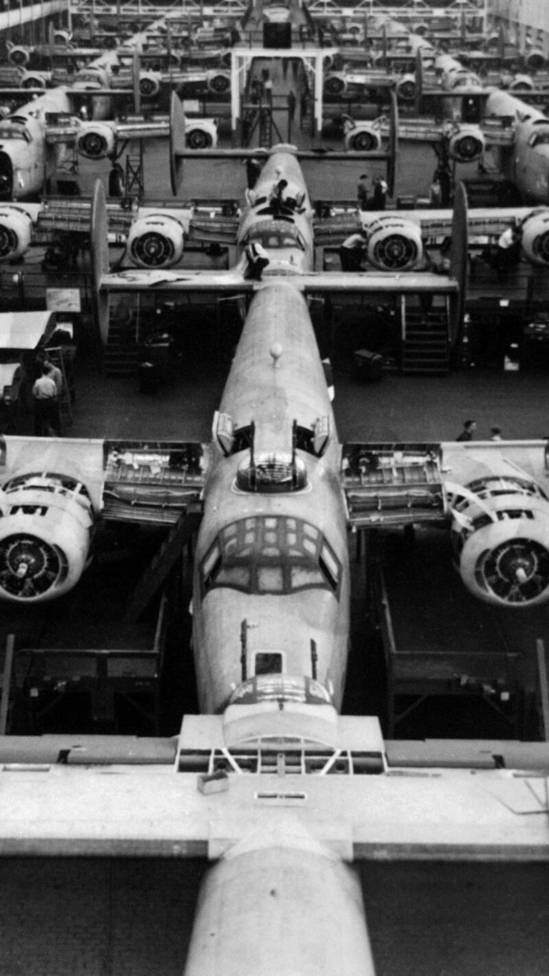 Production line at the Ford Willow Run bomber plant.