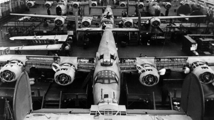 B-24 Liberators in assemby line.