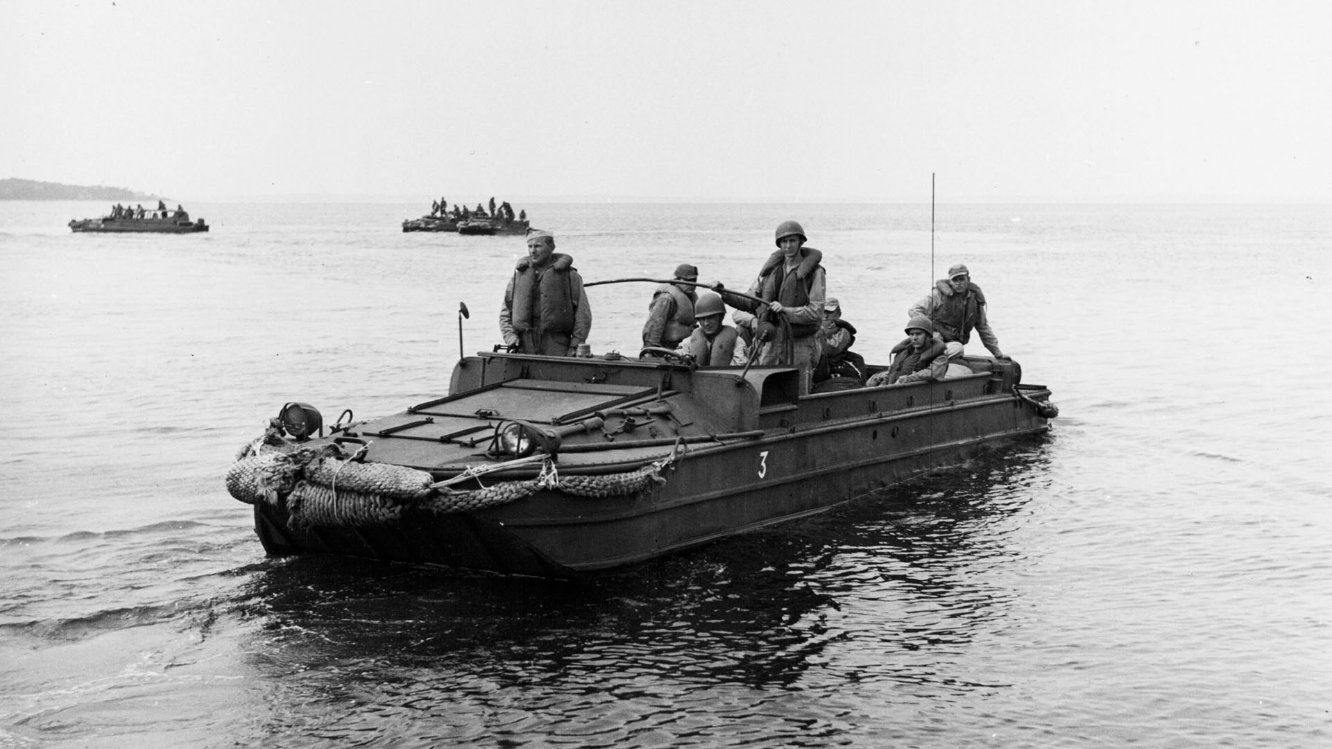 American amphibious 'duck' truck in the water.