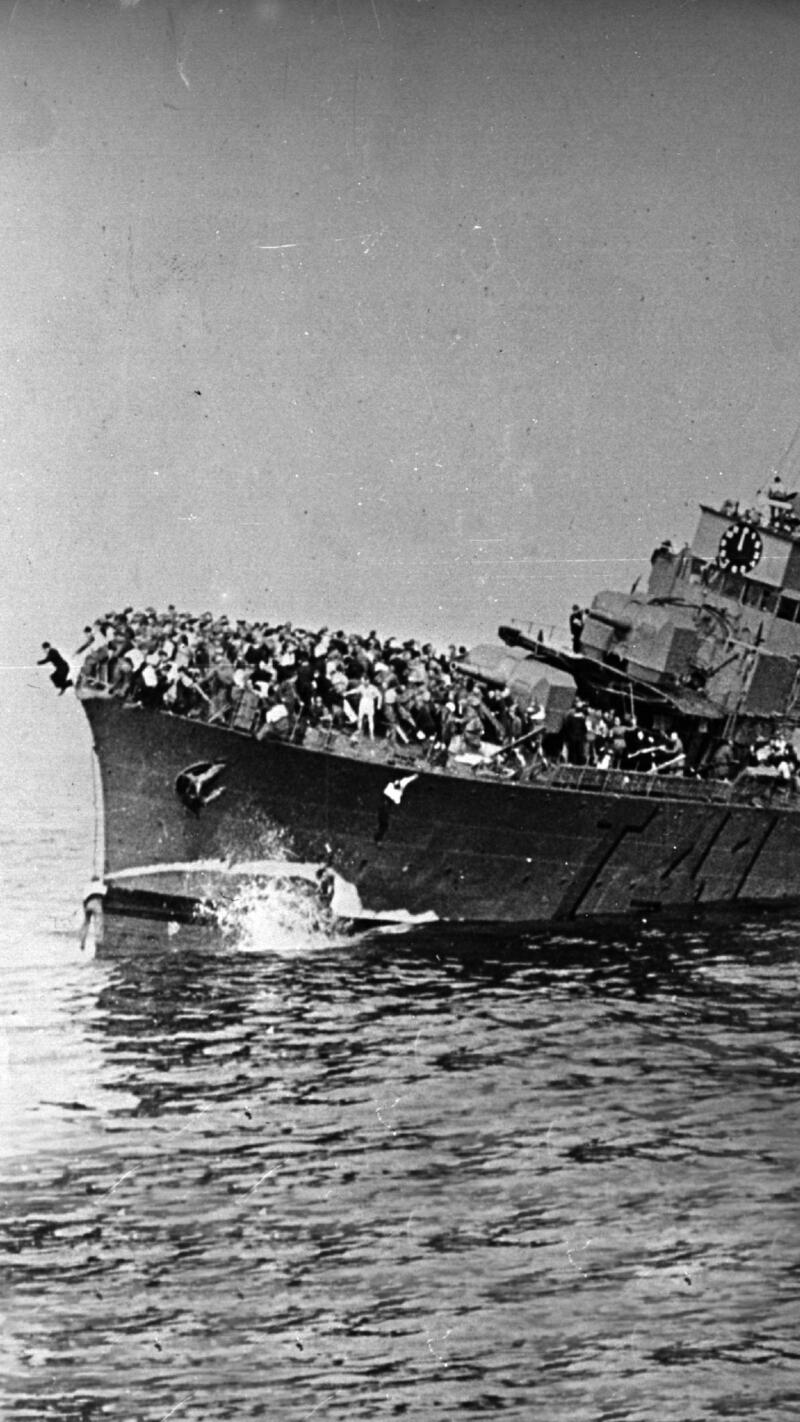 The French destroyer Bourrasque sinking.