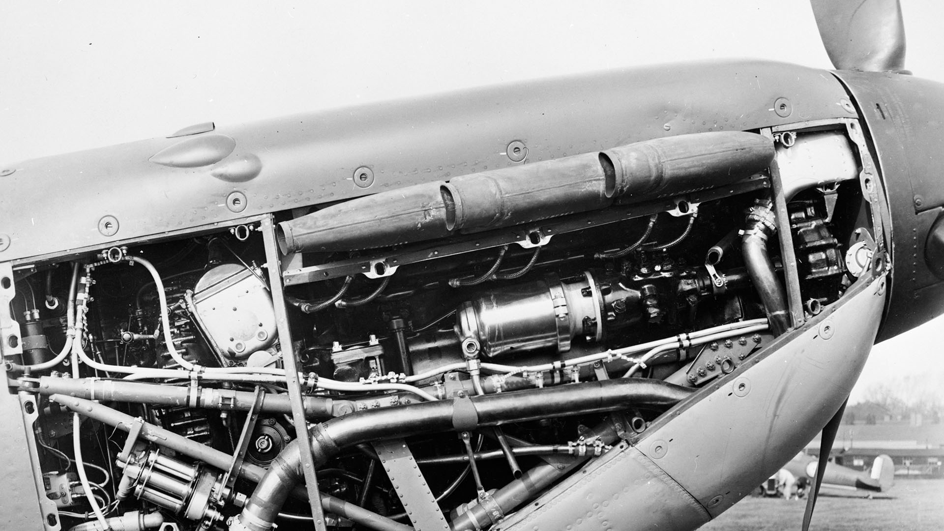 Rolls Royce Merlin engine installed into the Spitfire Mark IIA for the Royal Air Force.
