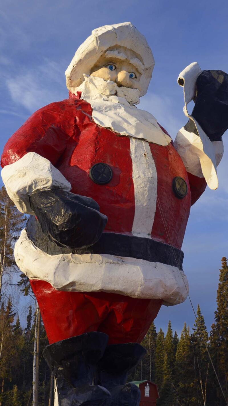 Giant Santa Claus statue at Santaland in North Pole, Alaska