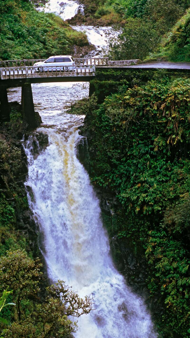 Wailuaiki Falls on the road through the rainforest to Hana