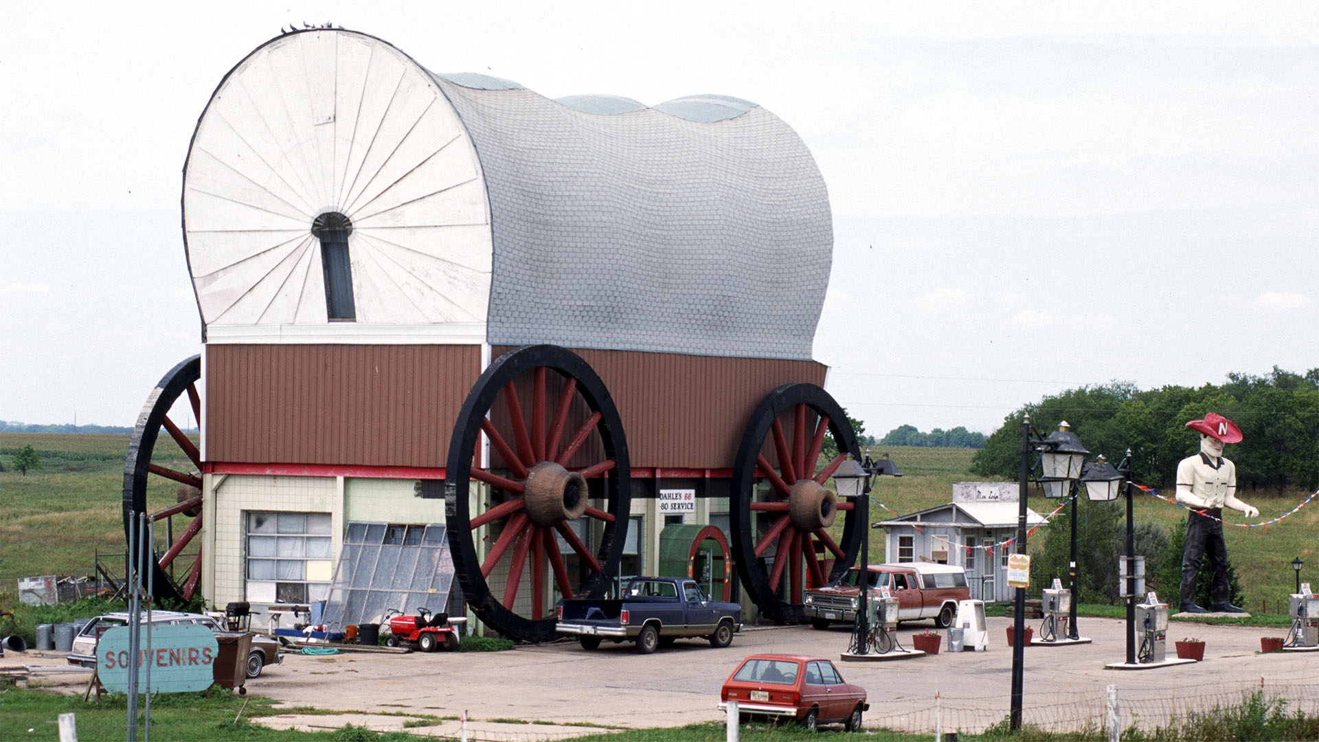 Gas Station Looks Like Covered Wagon