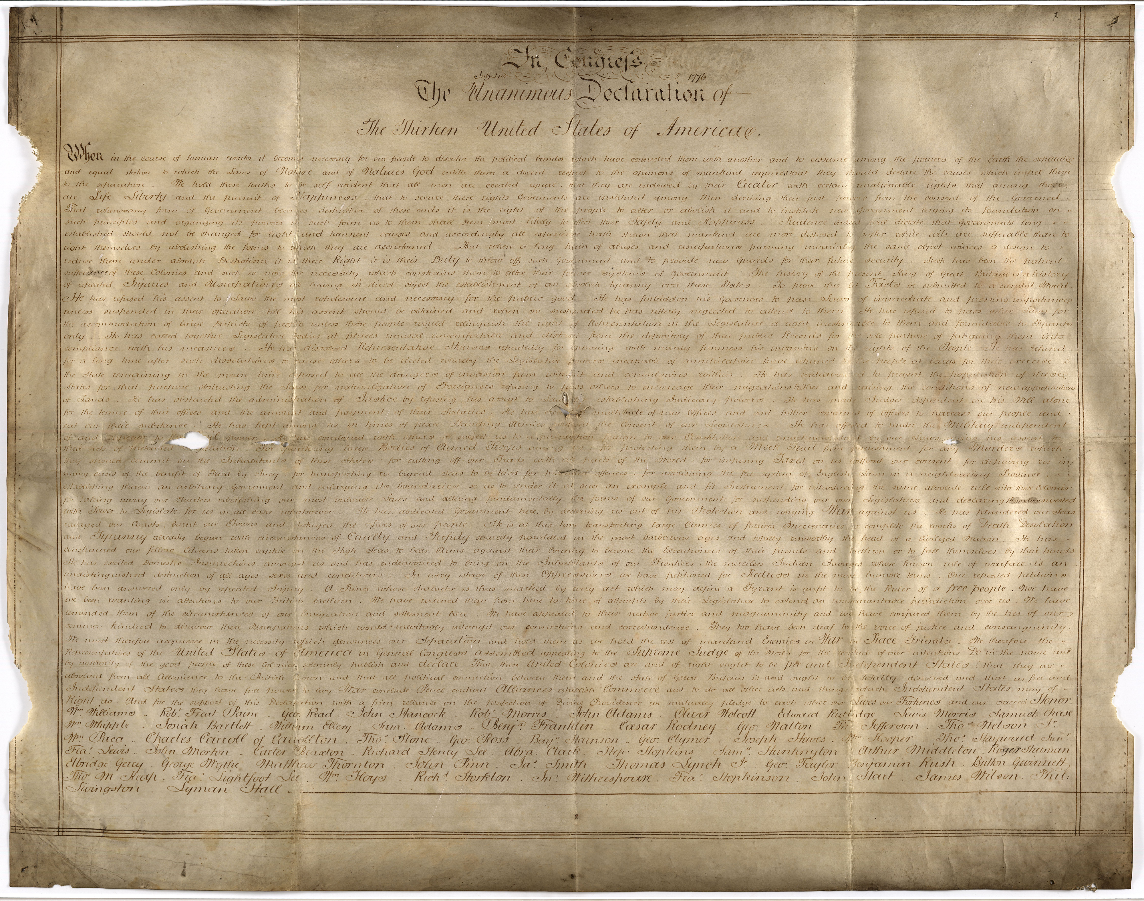 Rare Version of Declaration of Independence Found—In a British Archive