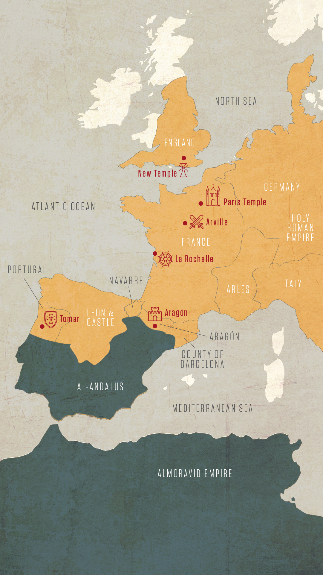 Map: Top Templar Sites in Western Europe