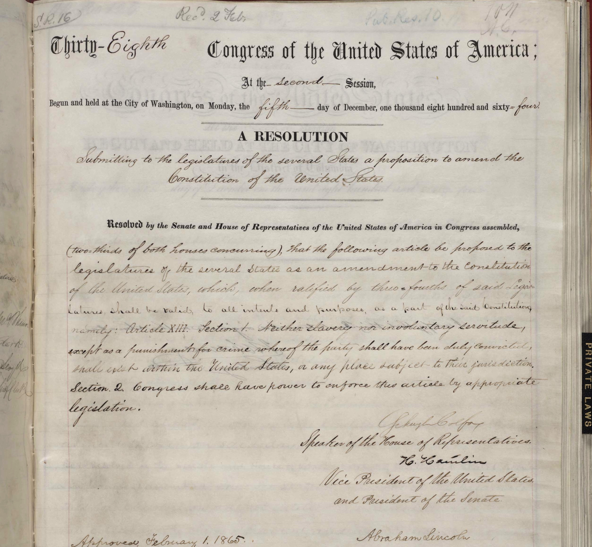Congress Passes 13th Amendment, 150 Years Ago