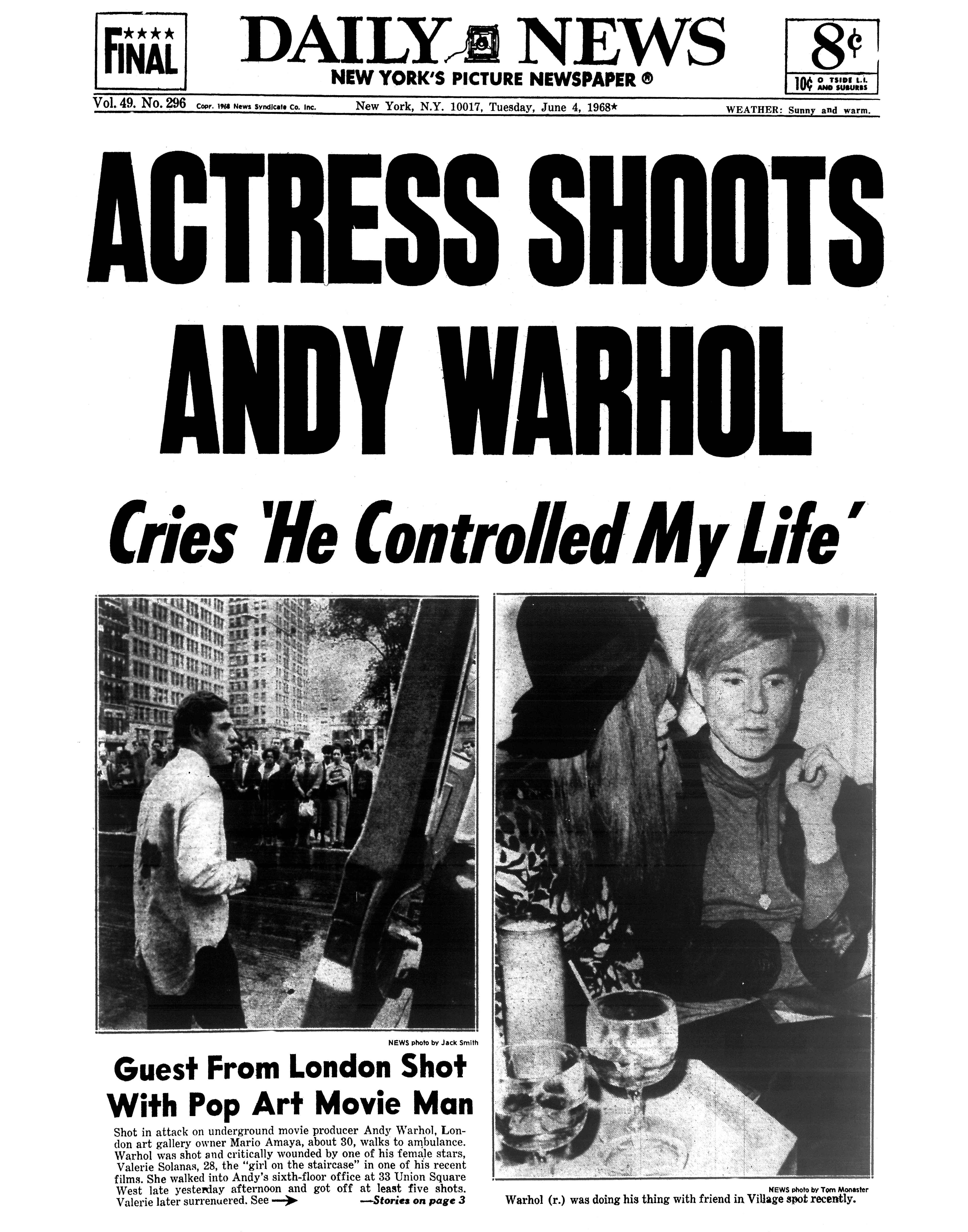 Andy Warhol Was Shot By Valerie Solanas. It Killed Him 19 ...