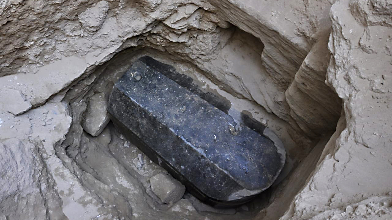 Ancient sarcophagus found at Egyptian building site opened