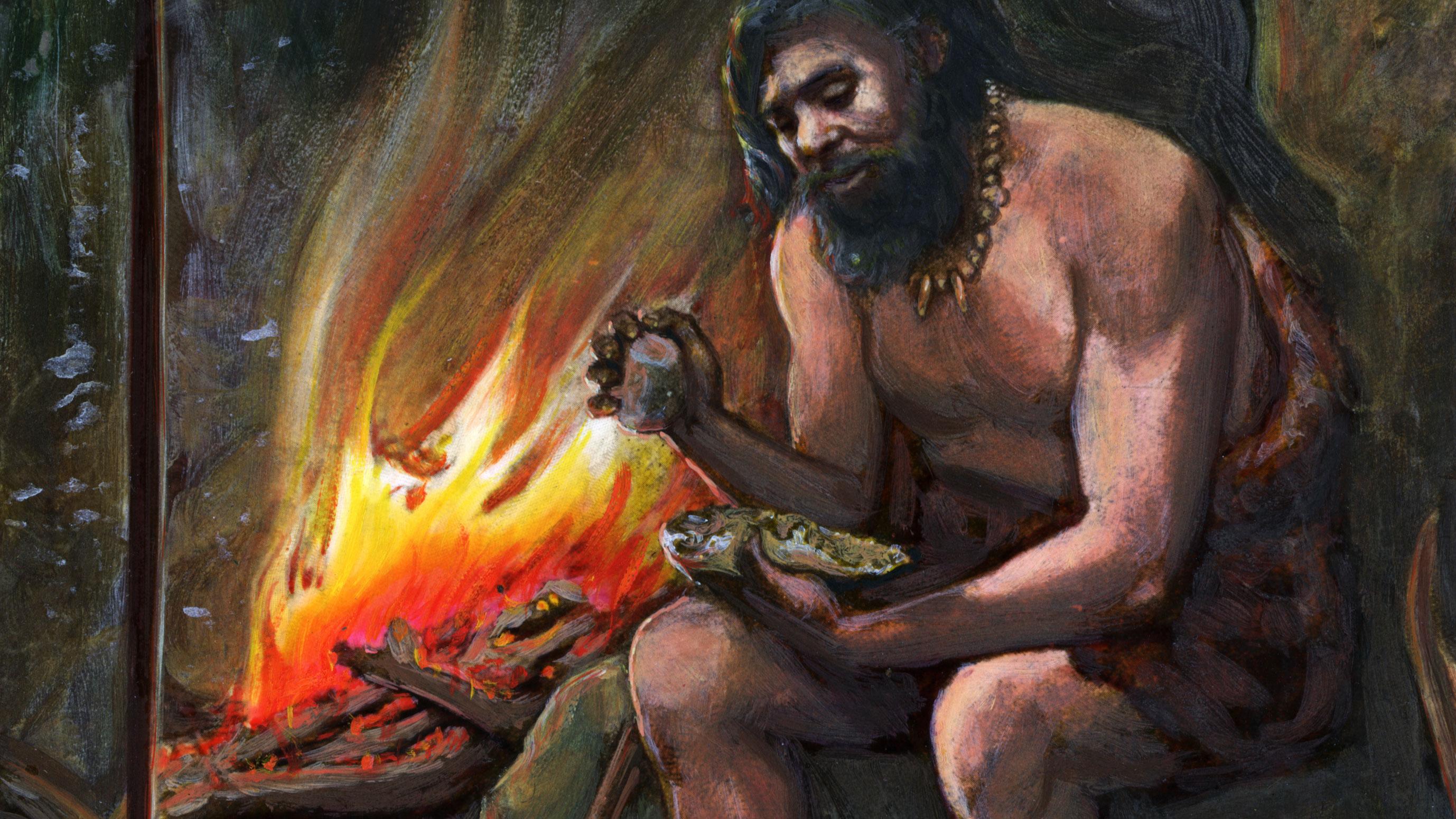 Картинки древнего человека огонь и вода