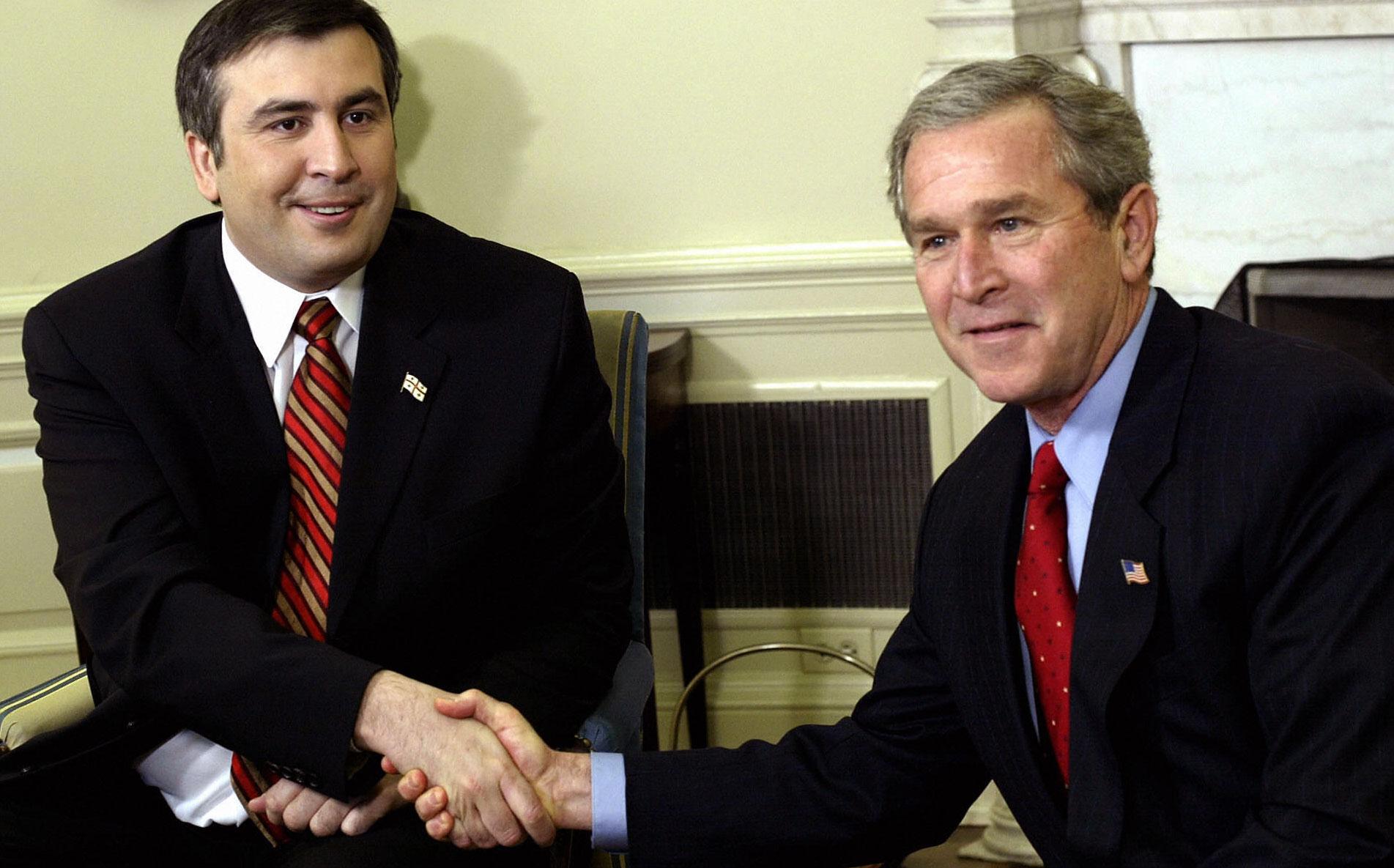 Mikhail Saakashvili and George W. Bush
