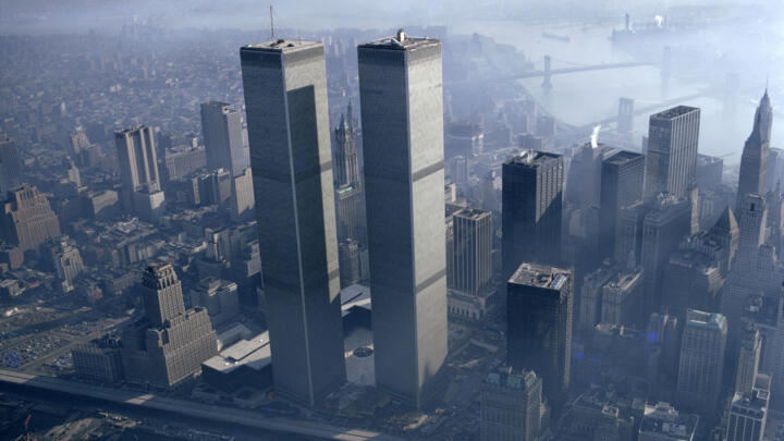 the World Trade Center towers in the Manhattan skyline before the September 11, 2001 attacks