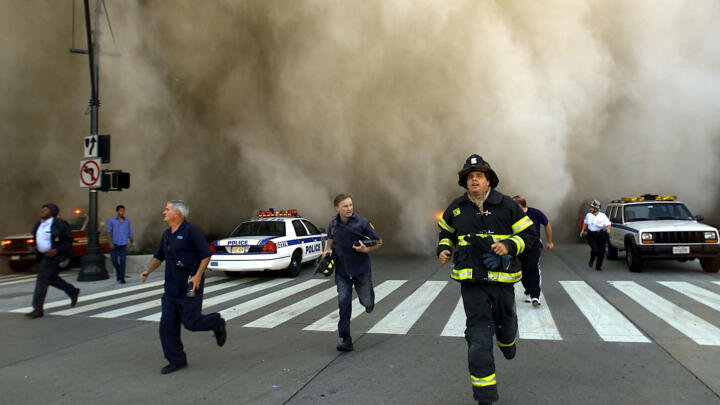 First responders escaping the collapsing towers on September 11, 2001