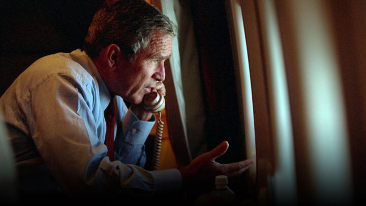 President George W. Bush on board Airforce One on September 11, 2001