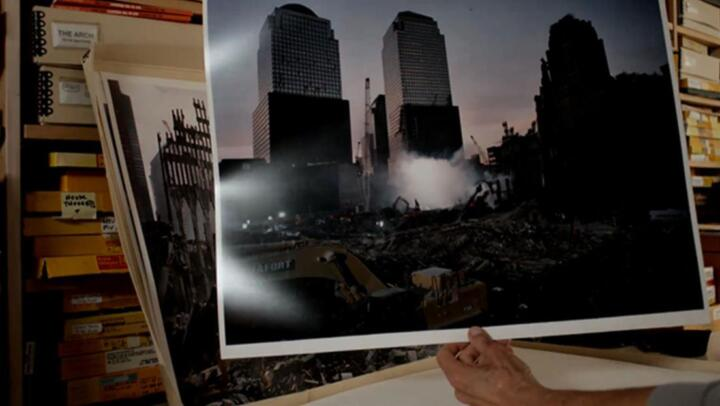photo of the World Trade center after the attacks on September 11, 2001