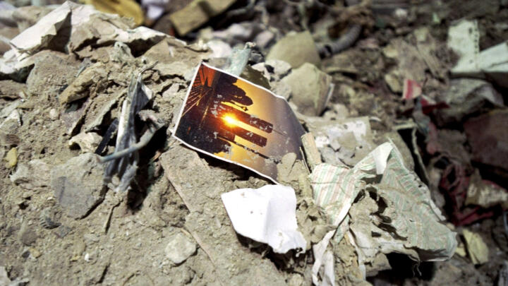 A photo in the rubble at the World Trade Center after September 11, 2001