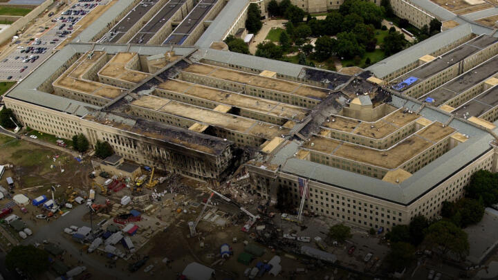 An areal view of the destruction caused at the Pentagon Building on September 11