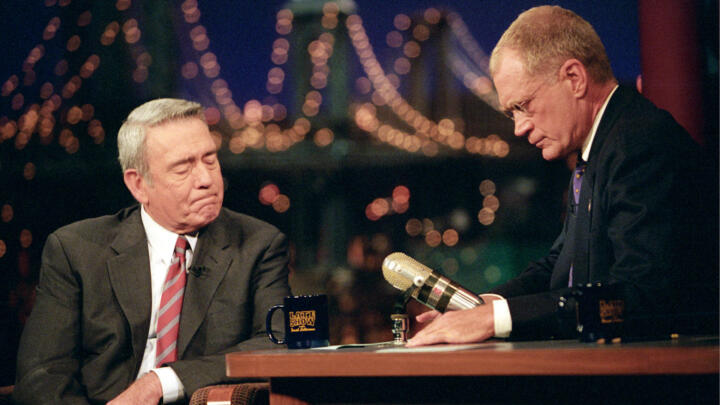Dan Rather appearing as a guest on The Late Show With David Letterman show on September 17, 2001