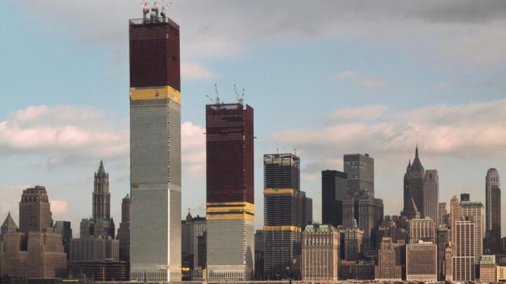 Photo of the World Trade Center during its initial construction