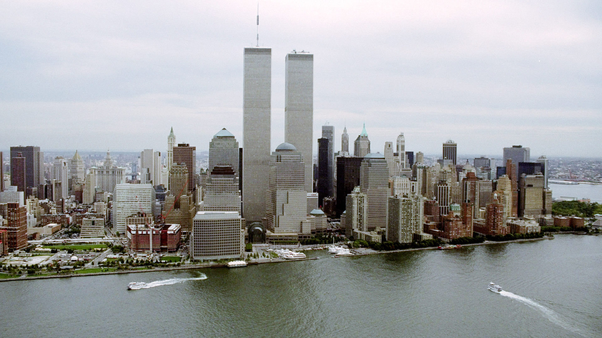 The lower West Side of Manhattan with the twin towers of World Trade Center.