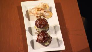 Beef Slider on Pretzel Bun with Onion Potato Chips