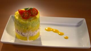 Crab Causa with Ají Amarillo Sauce and Heirloom Tomato Salad