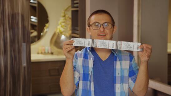 Sean flashes his tickets