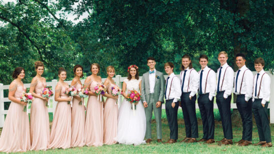Group shot of the wedding party at John Luke Robertson's wedding