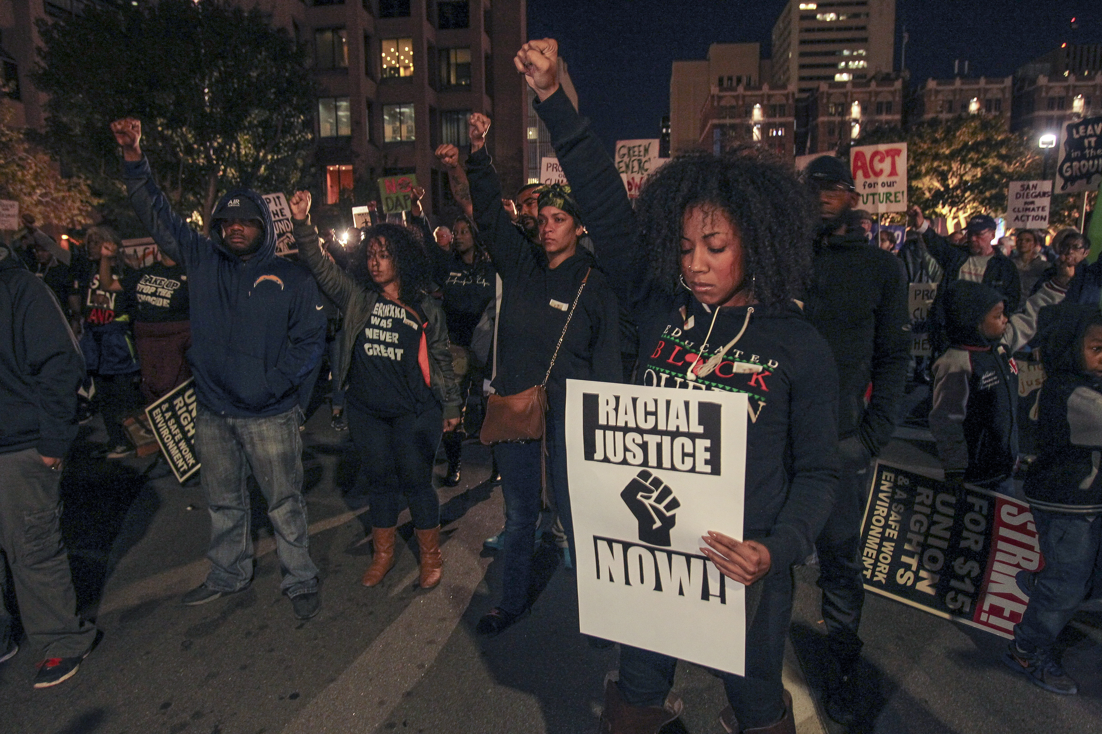 Protesters in San Diego, CA in November 2016 against police brutality