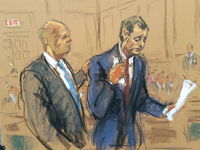Anthony Weiner courtroom sketch