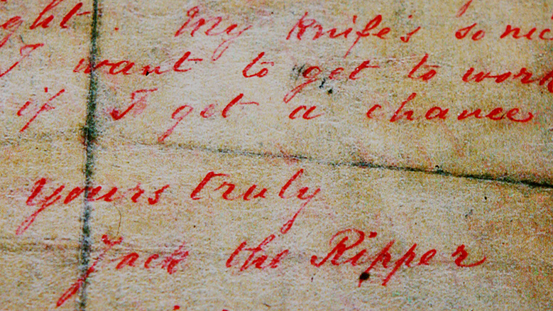 A letter allegedly written by Jack the Ripper and sent to a London news agency on September 25, 1888 is displayed at a press preview of the 'Jack the Ripper and the East End' exhibition at Museum in Docklands, in London, on May 14, 2008.