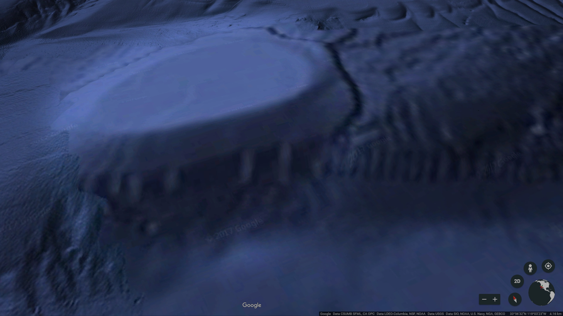 The underwater anomaly as seen on Google Earth, off the coast of Malibu, CA.