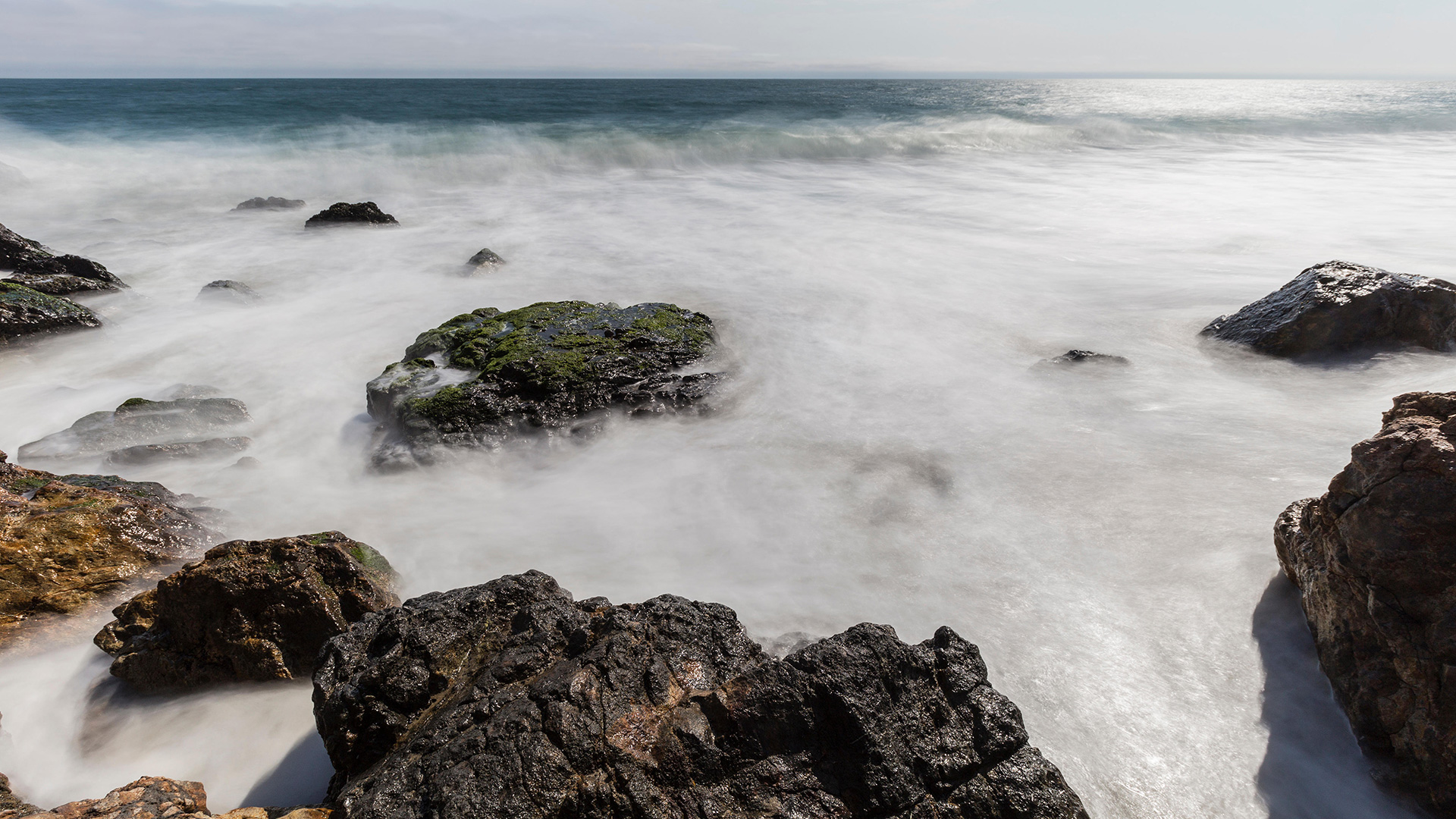 The rocky surf of Point Dume.