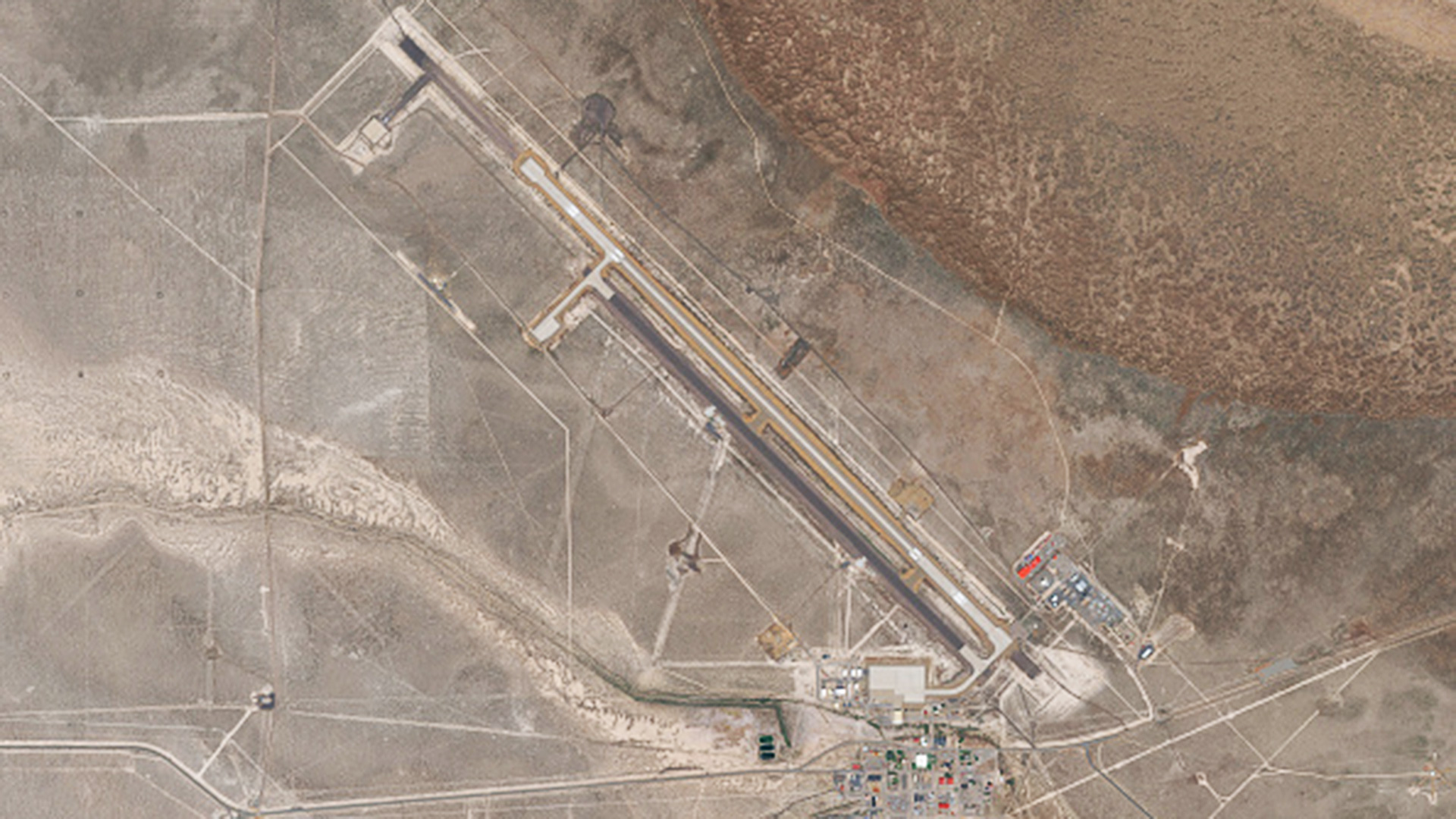 A satellite image of the Michael Army Airfield at the Dugway Proving Grounds in Utah.