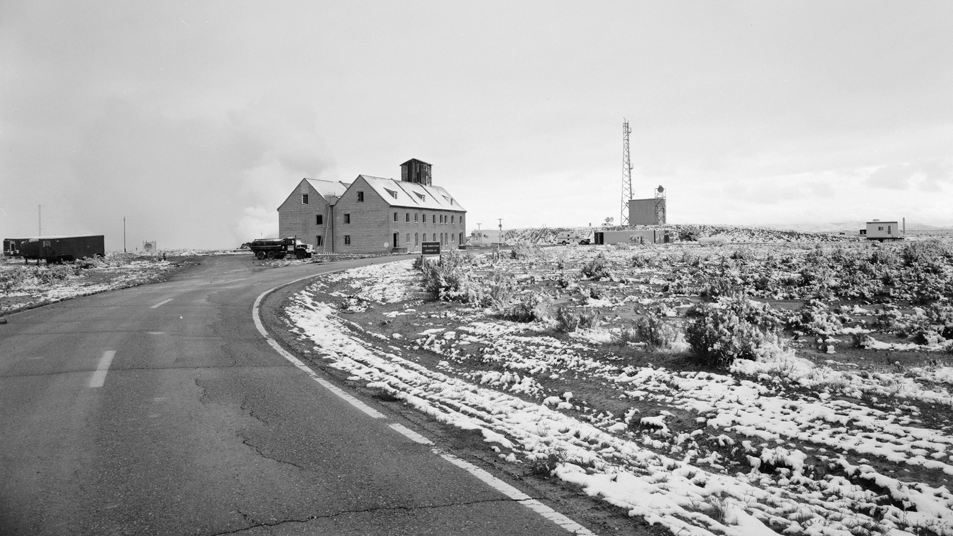 A view of the German village at the Dugway Proving Ground in Utah, built during World War II for testing firebombing tactics.