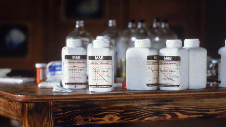 close up of cyanide bottles at Jonestown