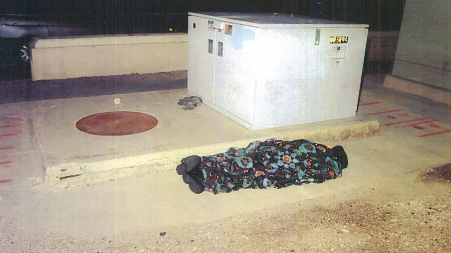 mannequin wrapped in a blanket used by the Las Vegas Metropolitan Police Department