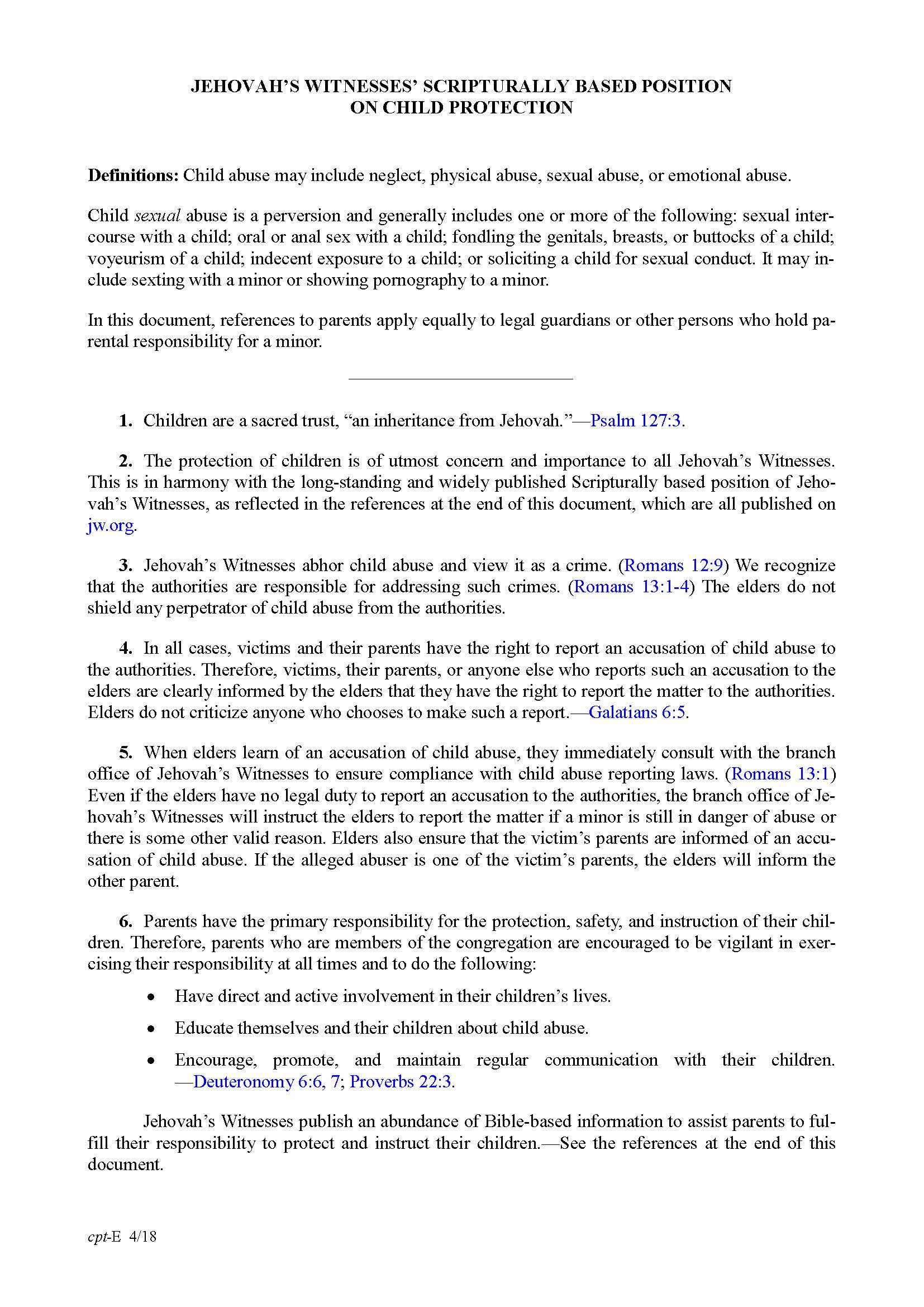 Jehovah's Witnesses' Scripturally Based Position on Child Protection, page 1