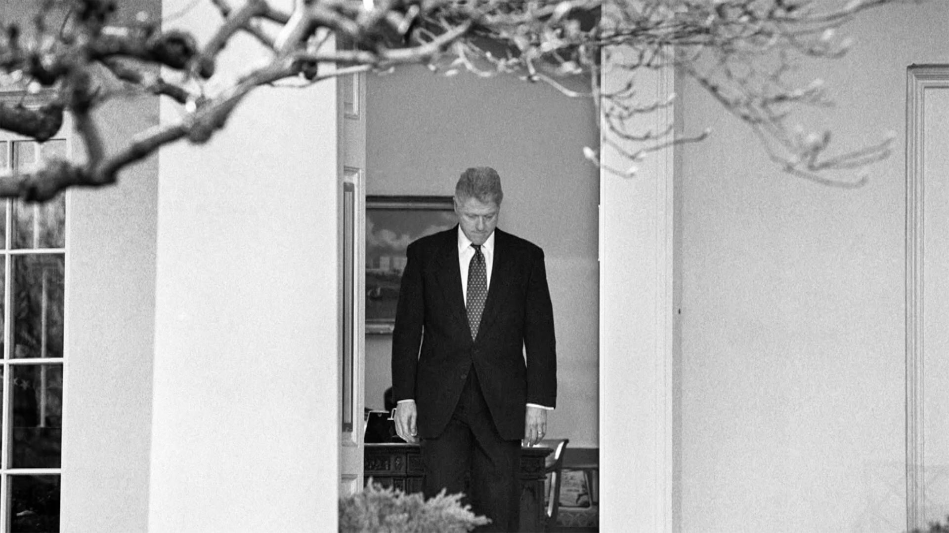 President Clinton walking to the podium to deliver a short statement on the impeachment inquiry.