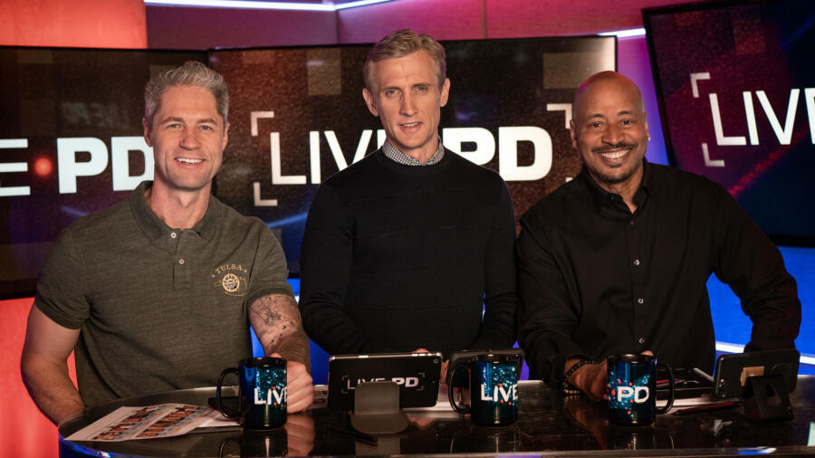 "Live PD's host and analysts -Sgt Sean ""Sticks"" Larkin, Dan Abrams and Tom Morris Jr."